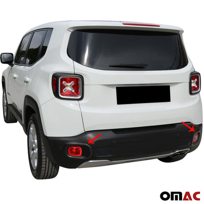 For JEEP Renegade 2019-2020 Brushed Dark Chrome Reflector Rim Trim S.Steel 2 Pcs