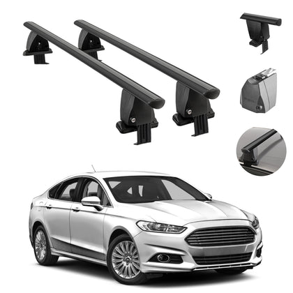 Fits Ford Fusion Sedan 2013-2020 Smooth Roof Rack Cross Bar Carrier Rail Black