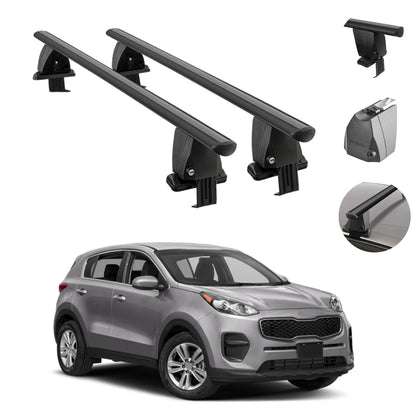 Fits Kia Sportage 2017-2021 Smooth Top Roof Rack Cross Bar Carrier Rail Black