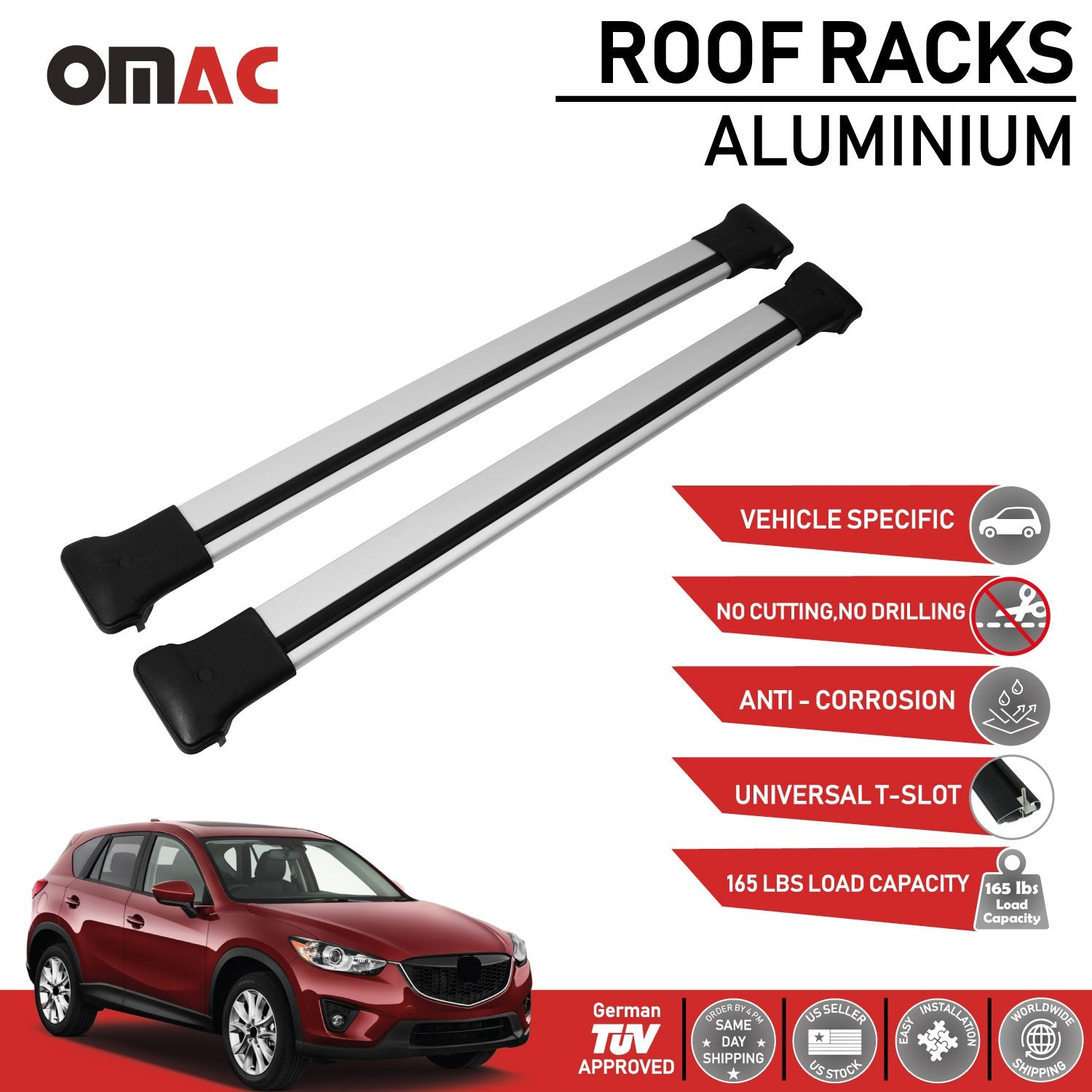 Roof Rack Cross Bars Luggage Carrier Silver fits Mazda CX-5 2013-2017