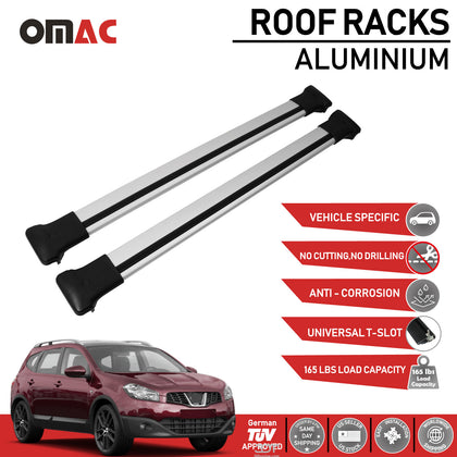 Roof Rack Cross Bars Luggage Carrier Silver for Nissan Qashqai 2007-2014