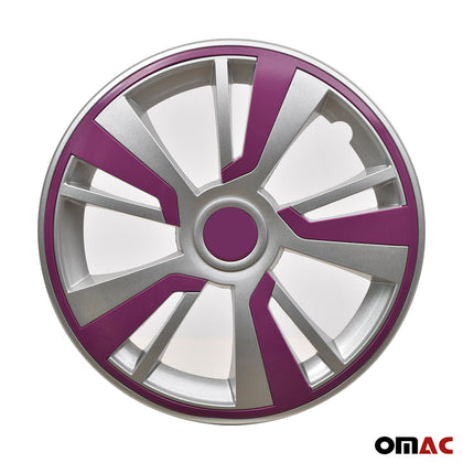 16'' Hubcaps Wheel Rim Cover Grey with Violet Insert 4pcs Set