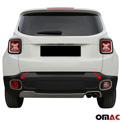 Fits JEEP Renegade 2019-2020 Chrome Rear Reflector Lamp Rim Trim S.Steel 2 Pcs Omac Shop Usa - Auto Accessories