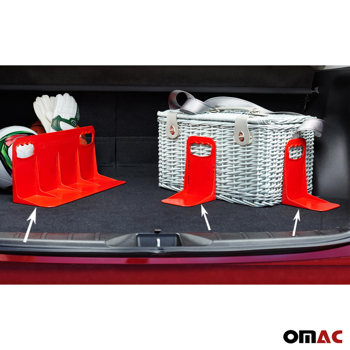 Red Trunk Organizer Velcro Stopper Stand 3 Pcs. For Seat