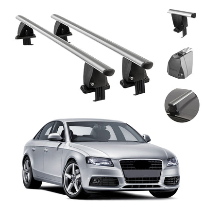 Silver Smooth Roof Rack Cross Bar Luggage Carrier For Audi A4 Sedan 2009-2012