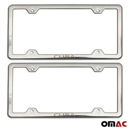 CUBA Print License Plate Frame Tag Holder Chrome S. Steel Fits Audi Q7