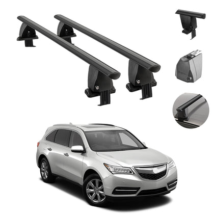Fits Acura MDX 2014-2021 Smooth Roof Rack Cross Bar Carrier Rail Black Aluminum