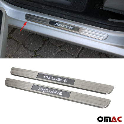 Fits VW Jetta 2011-2018 LED Chrome Door Sill Cover SPORT Brushed S.Steel 2 Pcs Omac Shop Usa - Auto Accessories
