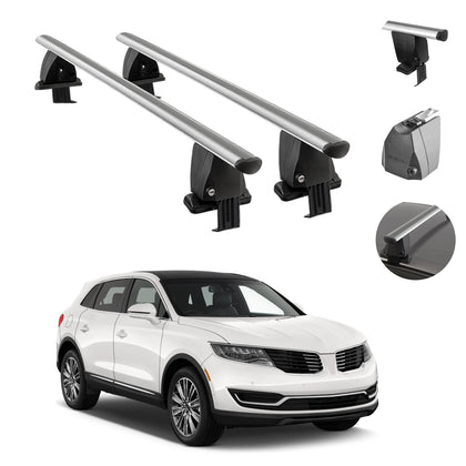 Silver Smooth Top Roof Rack Cross Bar Luggage Carrier For Lincoln MKX 2016-2018