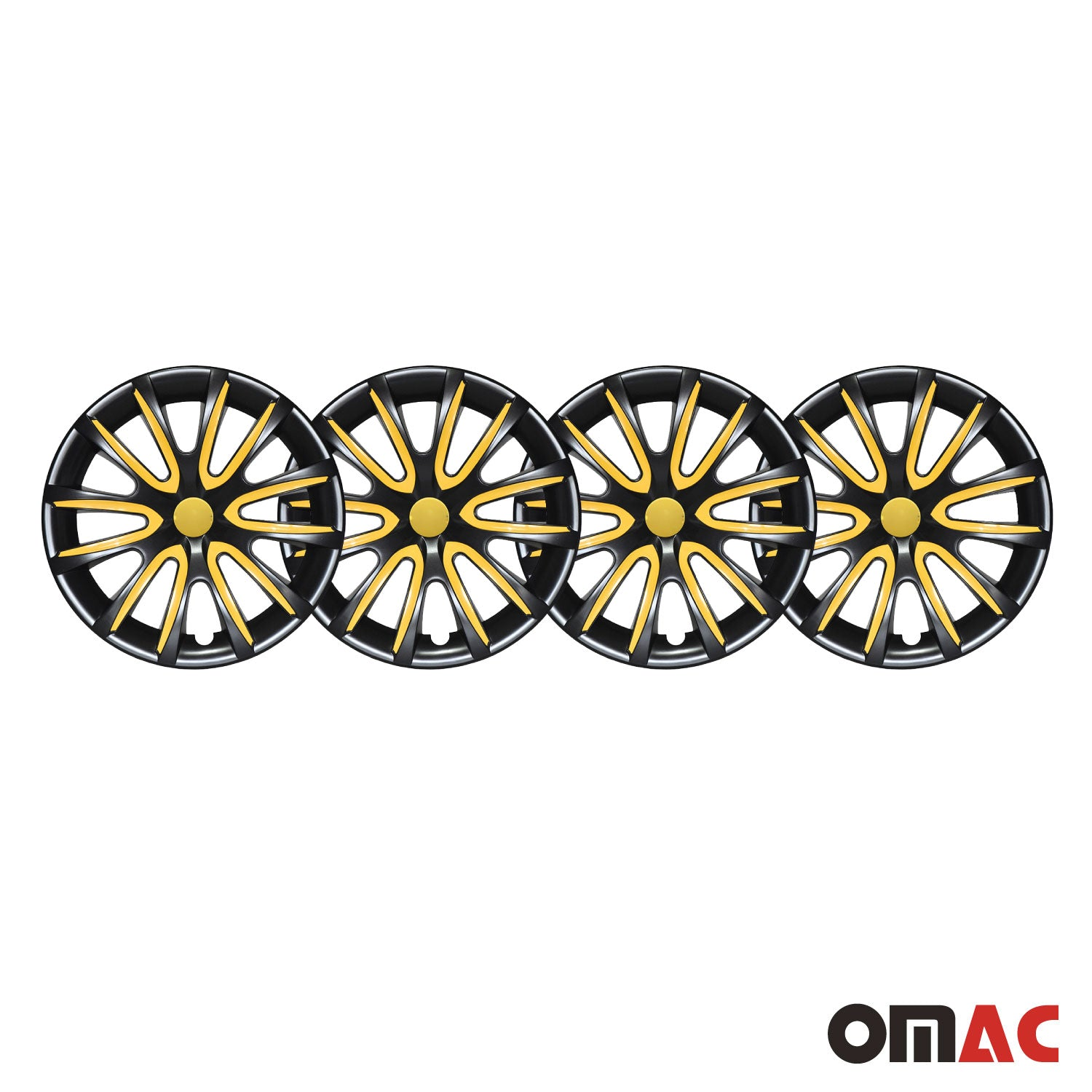 "14"" Inch Hubcaps Wheel Rim Cover Glossy Black with Yellow Insert 4pcs Set"
