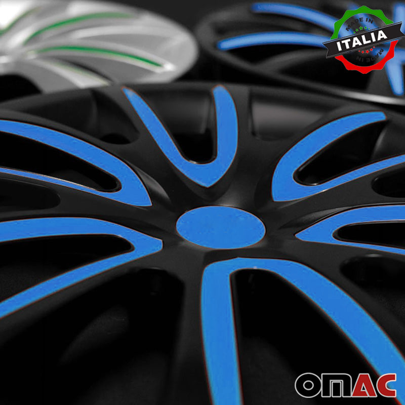"15"" Inch Hubcaps Wheel Rim Cover Glossy Black with Dark Blue Insert 4pcs Set"