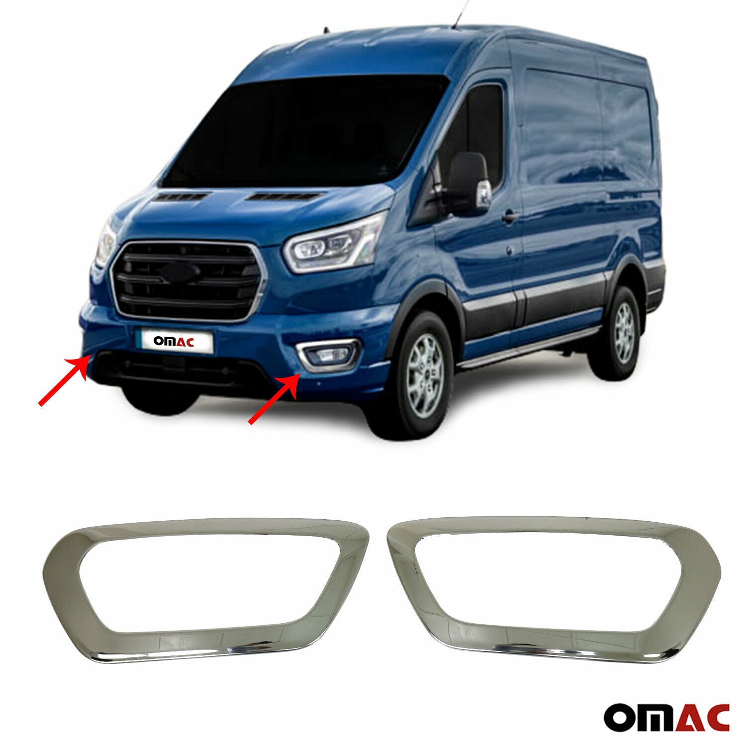 Chrome Front Fog Light Surround Lamp Cover 2Pcs Steel for Ford Transit 2019-2020