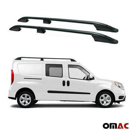 Top Roof Rack Side Rails Bars Alu 2 Pcs Black Fits Fiat Doblo 2015-2020