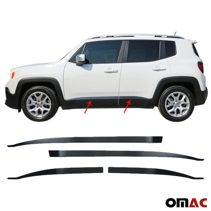 For Jeep Renegade 2018-2020 Brushed Dark Chrome Side Door Trim S.Steel 4 Pcs
