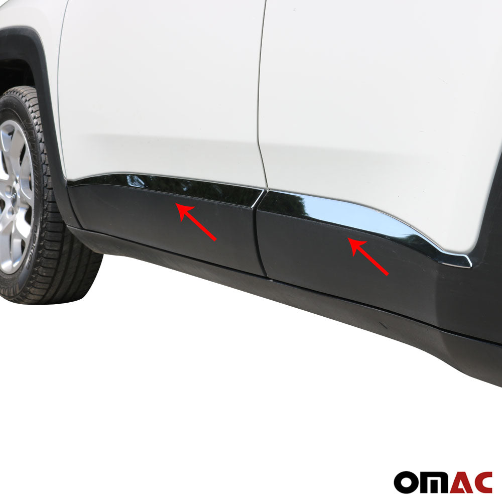 Chrome Side Body Molding Door Streamer Protector Steel for JEEP RENEGADE 2014-