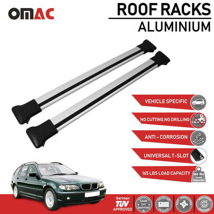 Roof Rack Cross Bars Luggage Carrier Silver For BMW 3 Series E46 Wagon 1998-2005