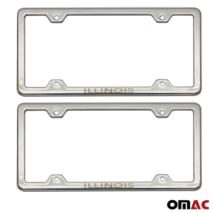 ILLINOIS Print License Plate Frame Chrome S. Steel For GMC Canyon Crew Cab
