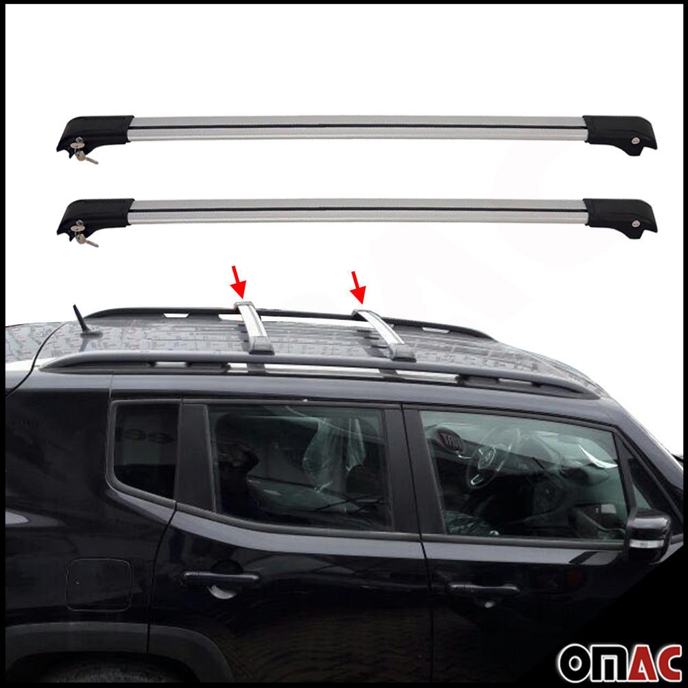 Roof Rack Cross Bars Luggage Carrier Alu Silver for Jeep Renegade 2015-2020