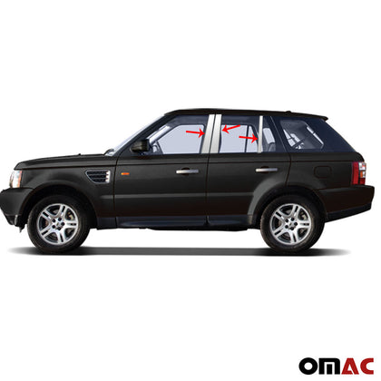 Fits Range Rover Sport 2006-2013 Chrome Window Panel B Pillar Trim S.Steel Omac Shop Usa - Auto Accessories
