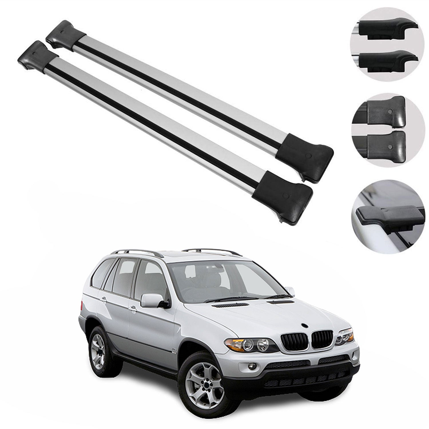 Roof Rack Cross Bars Luggage Carrier Silver Set Alu For Bmw X5 2000 20 Omac Shop Usa Auto Accessories