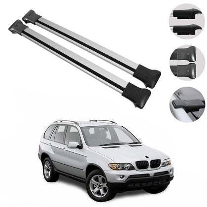 Roof Rack Cross Bars Luggage Carrier Silver Set Alu for BMW X5 2000-2006