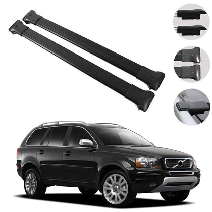 Roof Rack Cross Bars Luggage Carrier Black for Volvo XC90 2003-2015