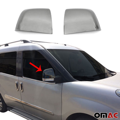 For Fiat Doblo 2010-2020 Dark Chrome Side Mirror Cover Cap 2 Pcs