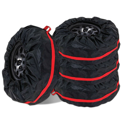 "14""-19""Car Spare Tire cover Storage Bag Wheel Protector Black with Red Belt"
