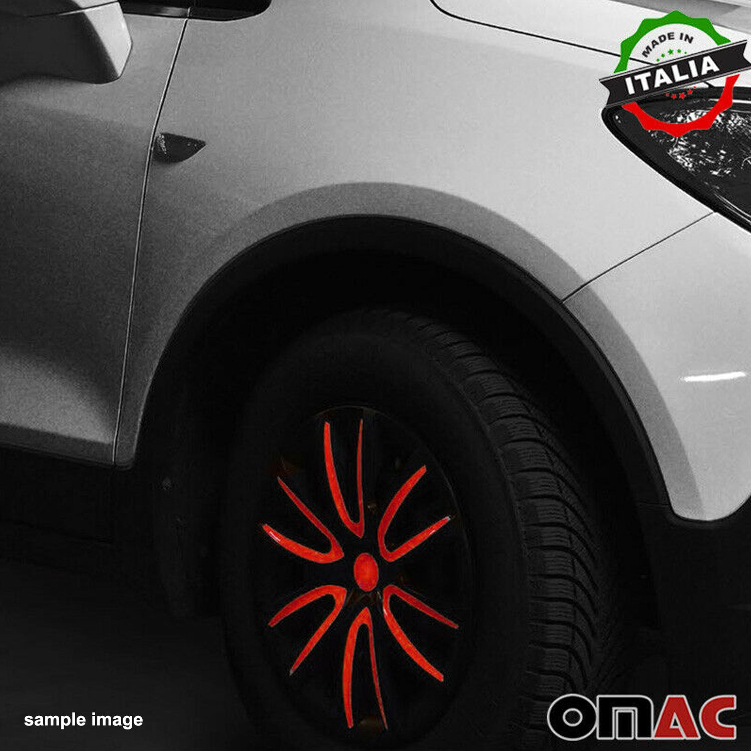"14"" Inch Hubcaps Wheel Rim Cover Matt Black with Red Insert 4pcs Set"