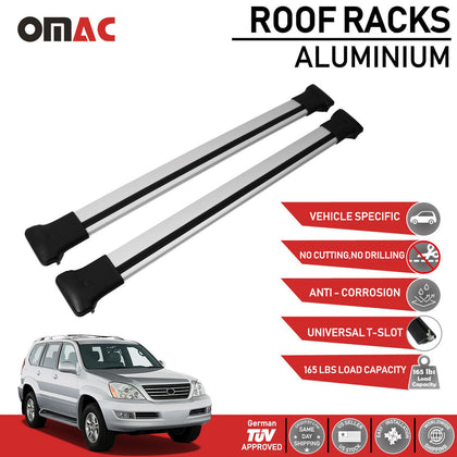 Roof Rack Cross Bars Luggage Carrier Silver for Lexus GX 470 2003-2009