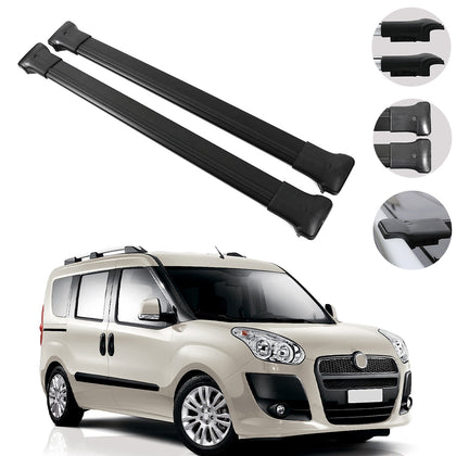 Roof Racks Black Cross Bars Luggage Carrier for Fiat Doblo 2010-2020