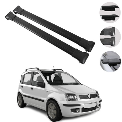 Roof Rack Cross Bars Luggage Carrier Black for Fiat Panda 2003-2012