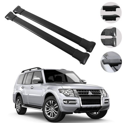 Roof Rack Cross Bars Luggage Carrier Black for Mitsubishi Pajero V80 2007-2020