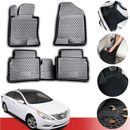 Floor Mats Liner 3D Molded Black 4 Pcs For Hyundai Sonata 2011-2014