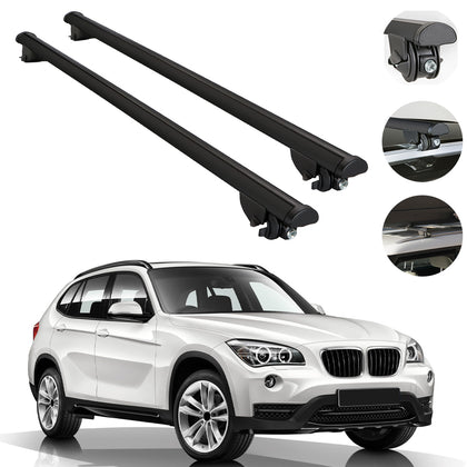 Roof Rack Cross Bars Cross Rail Aluminum Black 2 Pieces For BMW X1 E84 2012-2015
