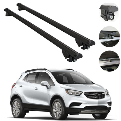 Roof Rack Cross Bars Cross Rail Aluminum Black 2 Pcs. For Buick Encore 2013-2019