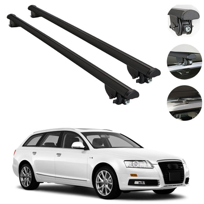 Roof Rack Cross Bars Cross Rail Aluminum Black For Audi A6 Avant 2005-2011