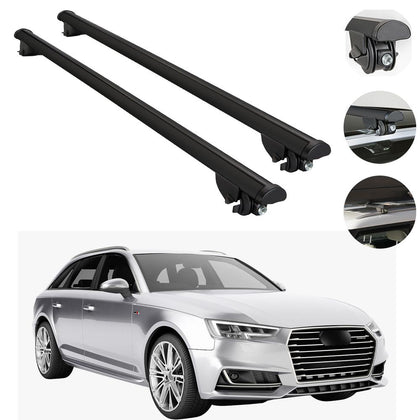 Roof Rack Cross Bars Cross Rail Alu. Black For Audi A4 Avant Wagon 2009-2016