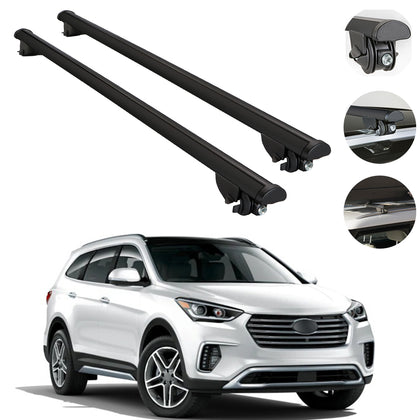 Roof Rack Cross Bars Cross Rail Aluminum Black For Hyundai Santa Fe 2013-2018