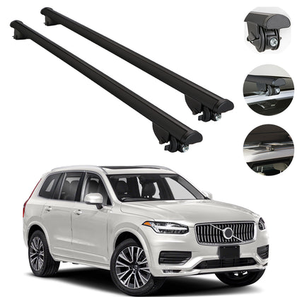 Roof Rack Cross Bars Cross Rail Aluminum Black 2 Pieces For Volvo XC90 2015-2021