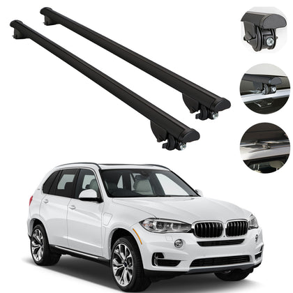 Roof Rack Cross Bars Cross Rail Aluminum Black 2 Pcs. For BMW X5 (F15) 2014-2018