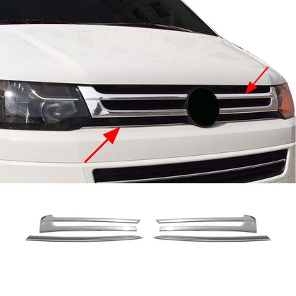 Fits VW Transporter 2010-2015 Chrome Front Grill Trim Cover S.Steel 4 Pcs Omac Shop Usa - Auto Accessories