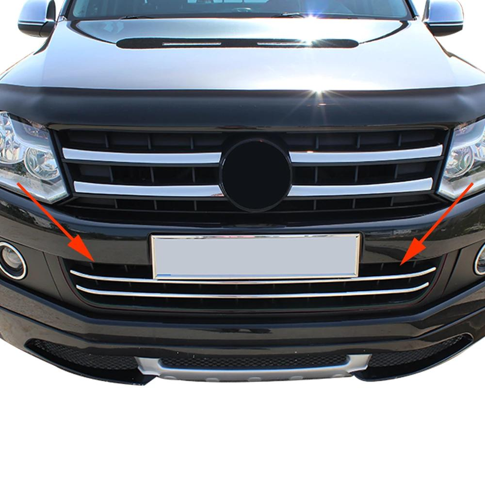 Fits VW Amarok 2010-2016 Stainless Steel Chrome Front Bumper Grill Trim 2 Pcs