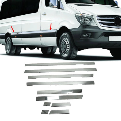 Omac usa - MERCEDES SPRINTER W906 Chrome Side Door Streamer Protection Guard Steel 2006-18 - Omac Shop Usa - Auto Accessories
