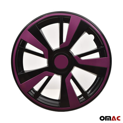 15'' Hubcaps Wheel Rim Cover Black with Violet Insert 4pcs Set for Ford