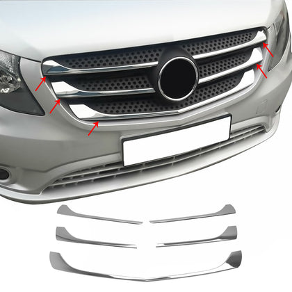 For Mercedes Metris 2016-2020 Chrome Front Grill Trim Cover S.Steel 5 Pcs