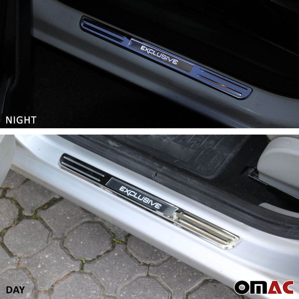 For Nissan GT-R 350Z Chrome LED Door Sill Cover Stainless Steel Exclusive 2 Pcs