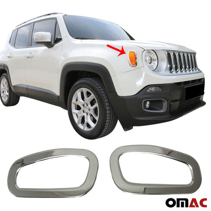 Omac usa - Chrome Side Indicator Light Lamp Surround Rim 2pcs Steel for JEEP RENEGADE 2014- - Omac Shop Usa - Auto Accessories