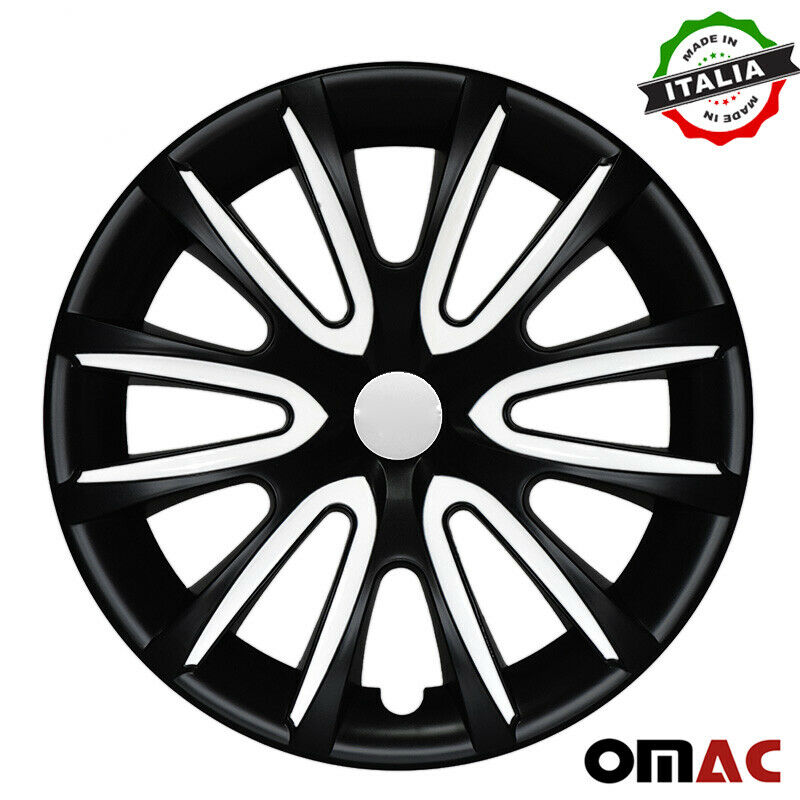 "16"" Inch Hubcaps Wheel Rim Cover Matt Black & White for Nissan Versa 4pcs Set"