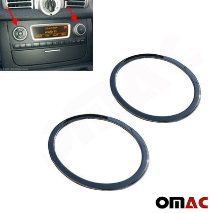 Fits SMART ForTwo 2007-2014 S.Steel Radio Button Switch Seal Washer Trim 2 Pcs Omac Shop Usa - Auto Accessories